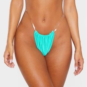 turquoise clear strap high leg bikini bottoms
